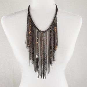 Chain fringe statement necklace in silver grey